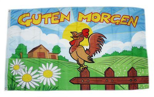 Fahne / Flagge Guten Morgen Hahn 90 x 150 cm