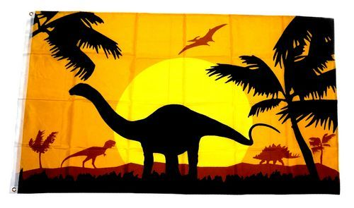 Fahne / Flagge Dinosaurier Silhouette 90 x 150 cm