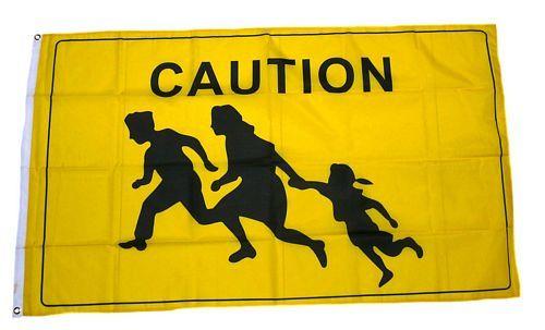 Fahne / Flagge Caution Vorsicht 90 x 150 cm