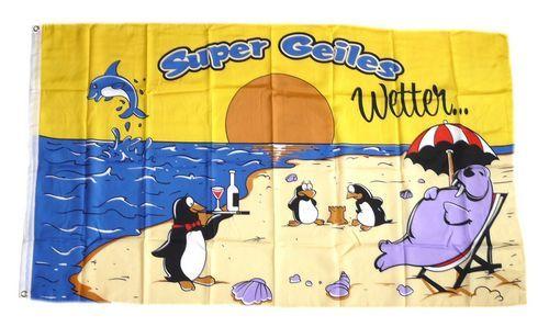 Fahne / Flagge Super geiles Wetter 90 x 150 cm