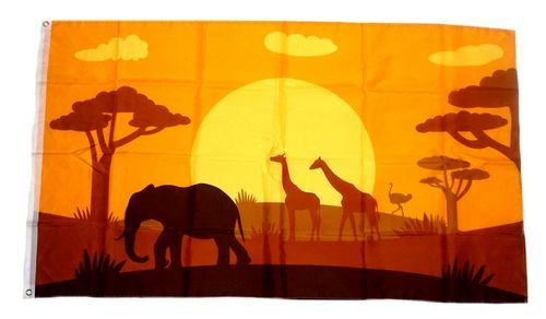 Fahne / Flagge Afrika Tiere Silhouette 90 x 150 cm