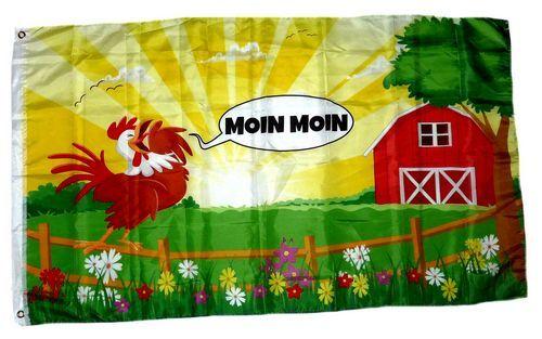 Fahne / Flagge Moin Moin Hahn 90 x 150 cm