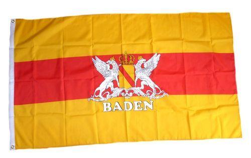 Fahne / Flagge Baden mit Wappen 90 x 150 cm