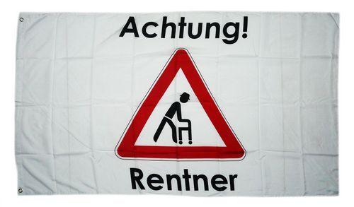 Fahne / Flagge Achtung Rentner 90 x 150 cm