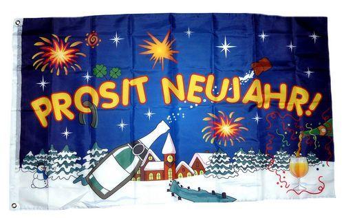 Fahne / Flagge Prosit Neujahr Sylvester 90 x 150 cm