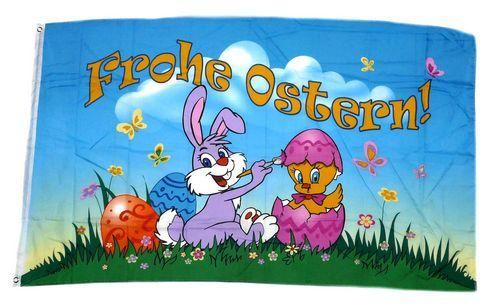 Fahne / Flagge Frohe Ostern Küken Ei 60 x 90 cm
