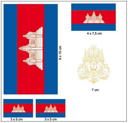 Fahnen Aufkleber Set Kamboscha