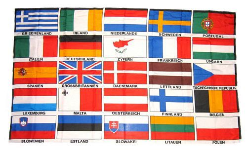 Flagge / Fahne Europa 25 Länder Schrift Hissflagge 90 x 150 cm