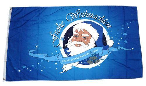 Fahne / Flagge Frohe Weihnachten blau 60 x 90 cm