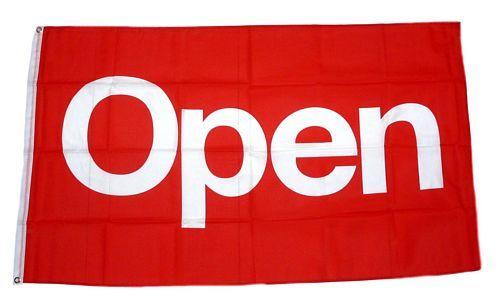 Fahne / Flagge OPEN rot NEU 90 x 150 cm