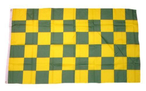 Fahne / Flagge Karo gelb / grün 90 x 150 cm