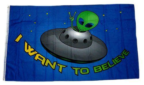 Fahne / Flagge Alien I want to believe 90 x 150 cm