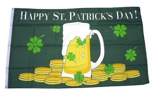 Fahne / Flagge Happy St. Patricks Day Bier 90 x 150 cm