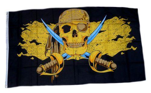Fahne / Flagge Pirat Gold Säbel 90 x 150 cm