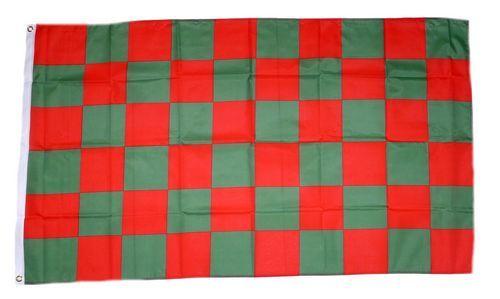 Fahne / Flagge Karo grün / rot 90 x 150 cm