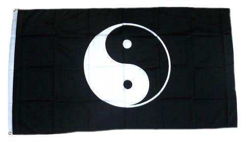 Fahne / Flagge Ying Yang schwarz 90 x 150 cm