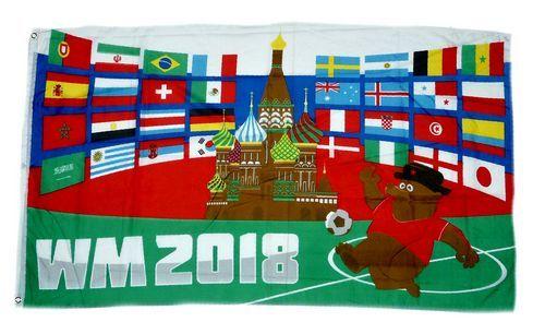 Fahne / Flagge WM 2018 Russland 32 Teilnehmer 90 x 150 cm