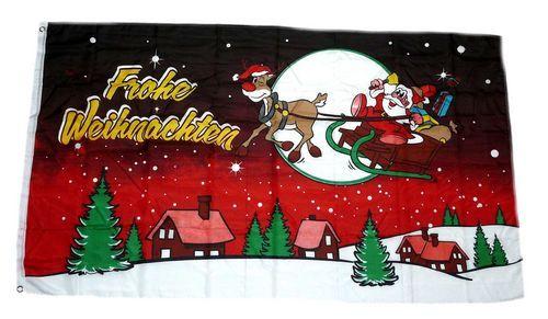 Fahne / Flagge Frohe Weihnachten Schlitten rot 90 x 150 cm