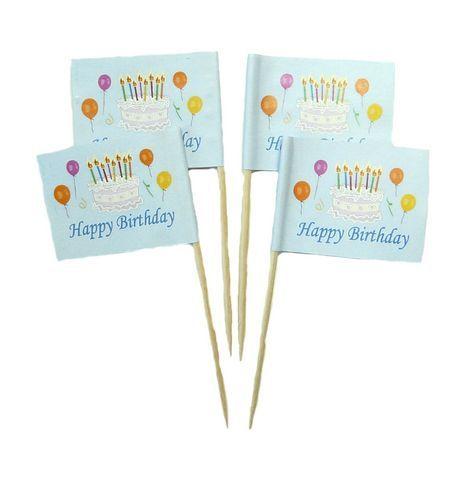 50 Minifahnen Dekopicker Happy Birthday