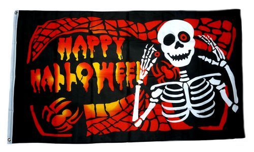 Fahne / Flagge Happy Halloween Skelett 90 x 150 cm