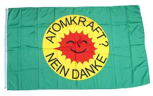 Fahne / Flagge Atomkraft Nein Danke! grün 90 x 150 cm