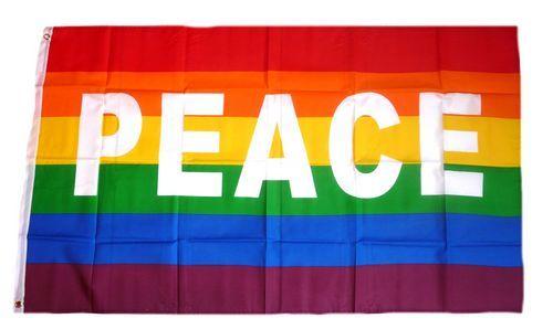 Fahne / Flagge Peace Regenbogen 90 x 150 cm