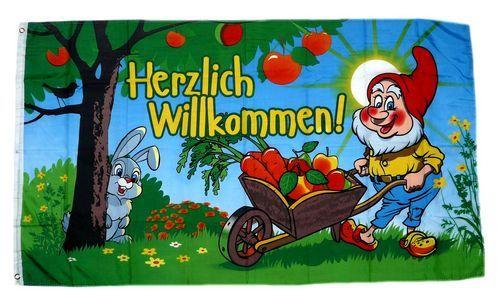 Fahne / Flagge Herzlich Willkommen Gartenzwerg NEU 90 x 150 cm