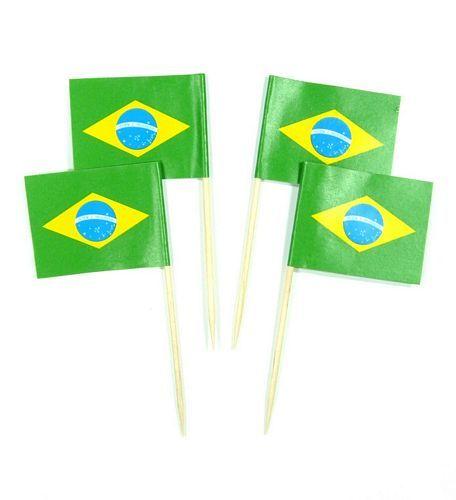 50 Minifahnen Dekopicker Brasilien 30 x 40 mm