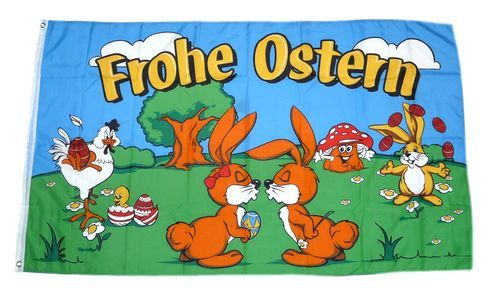 Fahne / Flagge Frohe Ostern Osterhasen 90 x 150 cm