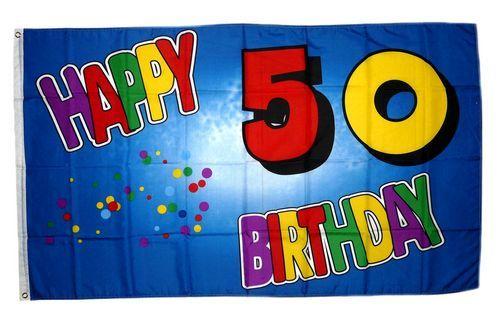 Fahne / Flagge 50. Geburtstag Happy Birthday 90 x 150 cm