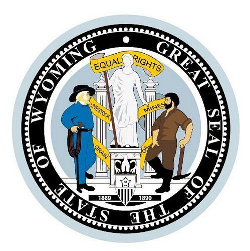 Fahnen Aufkleber Sticker Siegel USA - Wyoming