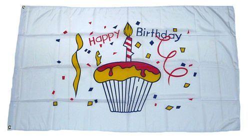 Fahne / Flagge Happy Birthday Kuchen 90 x 150 cm
