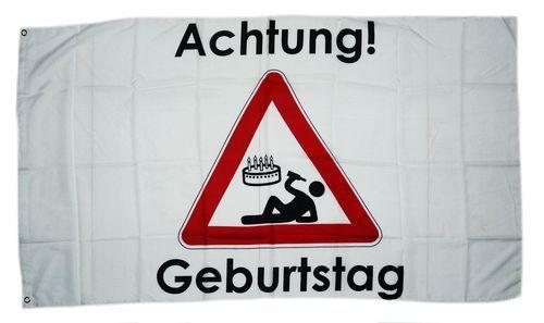 Fahne / Flagge Achtung Geburtstag 90 x 150 cm