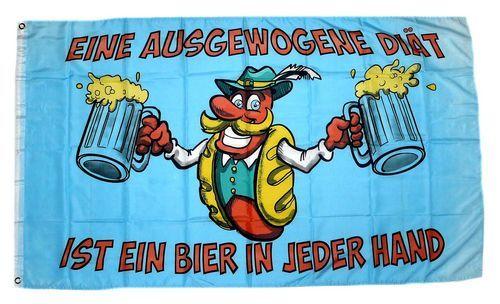 Fahne / Flagge Bier eine augewogene Diät 90 x 150 cm