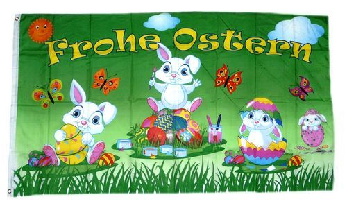 Fahne / Flagge Frohe Ostern Hasen 90 x 150 cm