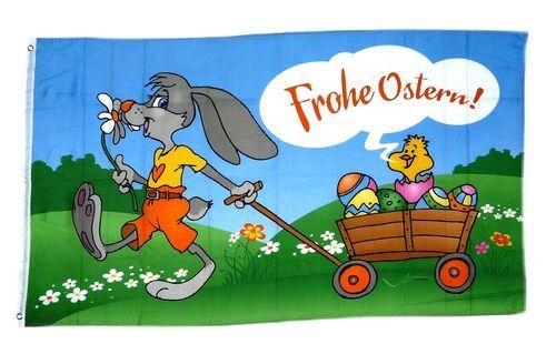 Fahne / Flagge Frohe Ostern Karren 60 x 90 cm