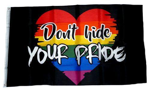 Fahne / Flagge Regenbogen Don´t Hide your Pride 90 x 150 cm