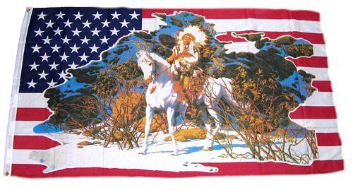 Fahne / Flagge USA - Indianer weißes Pferd 150 x 250 cm