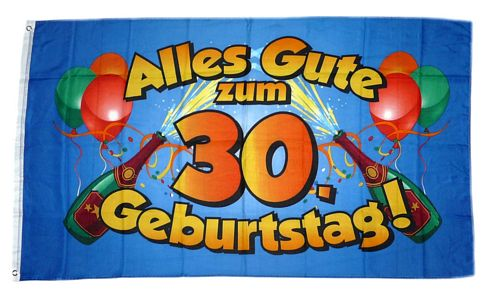 fahne flagge alles gute zum 30 geburtstag blau feste anl sse fun sonstiges fahnenwelt. Black Bedroom Furniture Sets. Home Design Ideas