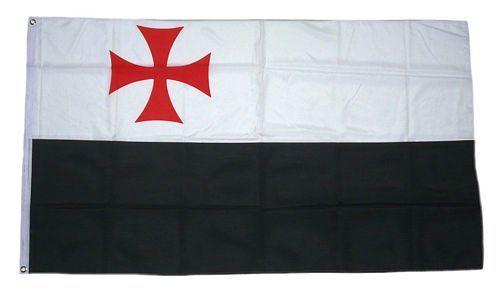 Fahne / Flagge Templer Kreuz schwarz / weiß NEU 90 x 150 cm