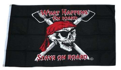 Fahne / Flagge Pirat What happens on Board 90 x 150 cm