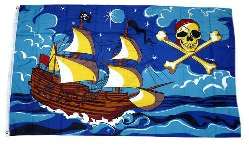 Flagge Fahne Piratenschiff blau Hissflagge 90 x 150 cm