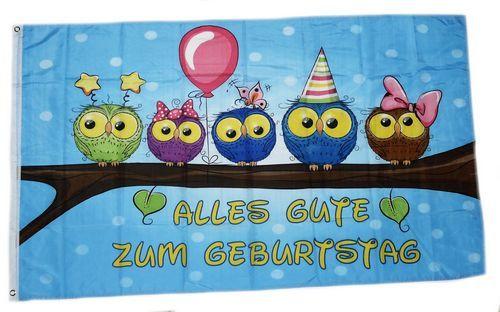 Fahne / Flagge Alles Gute zum Geburtstag Eulen 90 x 150 cm