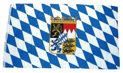 Flagge / Fahne Freistaat Bayern Wappen Hissflagge 90 x 150 cm