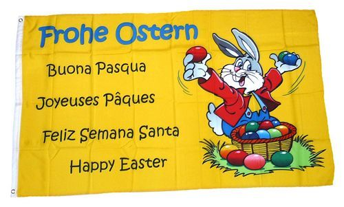 Fahne / Flagge Frohe Ostern Spruch 90 x 150 cm
