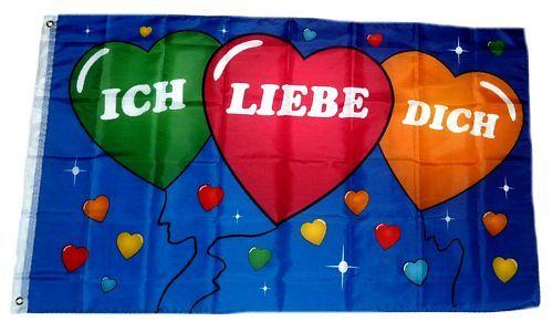 Flagge Fahne Ich liebe Dich Herz 90 x 150 cm