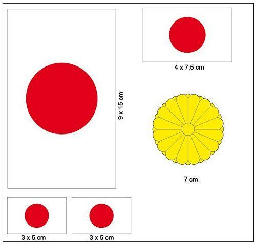 Fahnen Aufkleber Set Japan