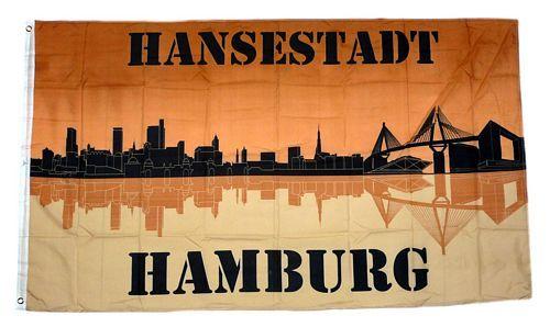 Fahne / Flagge Hansestadt Hamburg Silhouette 90 x 150 cm