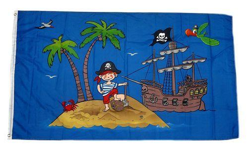 Fahne / Flagge Piratenschiff Schatzinsel 90 x 150 cm