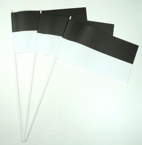 10 Papierfähnchen schwarz / weiß Papierfahnen Fahne